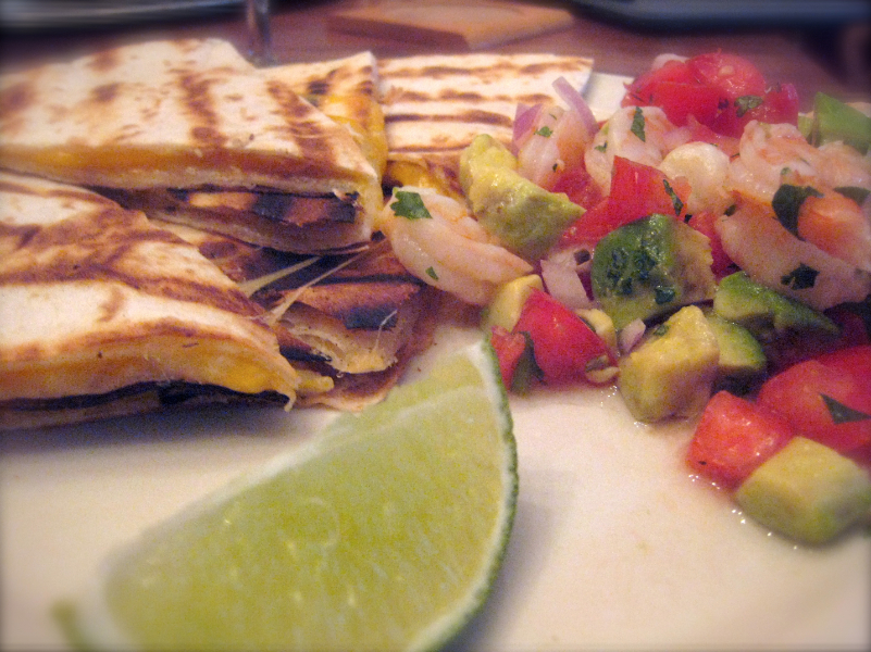 Shrimp Ceviche and Quesadillas